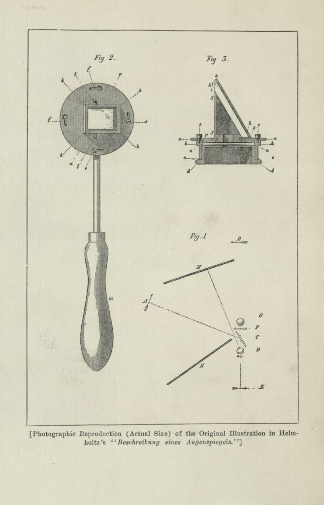Diagram of the Ophthalmoscope from Helmholtz's The Description of an Ophthalmoscope.
